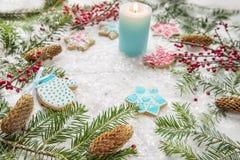 La Navidad festiva, salvapantallas del ` s del Año Nuevo, postal, fondo Foto de archivo libre de regalías