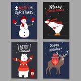 La Navidad fijada con el ejemplo del vector de los animales salvajes ilustración del vector