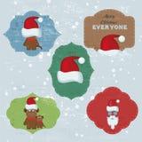 La Navidad fijada con las notas, etiquetas engomadas, etiquetas Fotografía de archivo