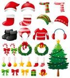 La Navidad fijada con los ornamentos y la ropa Fotos de archivo
