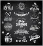La Navidad fijada - escrituras de la etiqueta, emblemas y otros elementos decorativos Foto de archivo libre de regalías