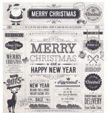 La Navidad fijada - escrituras de la etiqueta, emblemas y otros elementos decorativos Foto de archivo
