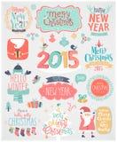La Navidad fijada - escrituras de la etiqueta, emblemas y otros elementos decorativos Imagen de archivo