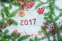 La Navidad, fondo del ` s del Año Nuevo, salvapantallas 2017 Imagen de archivo