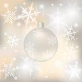 La Navidad, fondo festivo del Año Nuevo para las tarjetas de felicitación Bola de plata con los ejemplos del senezhinkami ilustración del vector