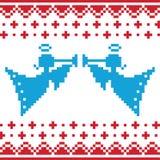 La Navidad hecha punto pesca la tarjeta con caña en b inconsútil Imagenes de archivo