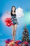 La Navidad hermosa adolescente Imagen de archivo libre de regalías