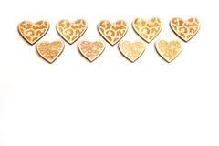 La Navidad hermosa de la boda o corazones de madera rústicos del vintage de las tarjetas del día de San Valentín Imagenes de archivo