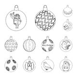 La Navidad juega iconos del esquema en la colección del sistema para el diseño Las bolas del Año Nuevo vector el ejemplo común de Fotografía de archivo libre de regalías