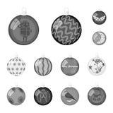 La Navidad juega iconos monocromáticos en la colección del sistema para el diseño Las bolas del Año Nuevo vector el ejemplo común Fotografía de archivo