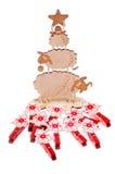 La Navidad juega rojo y ovejas Foto de archivo libre de regalías