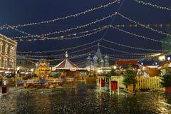 La Navidad justa en Moscú, cuadrado rojo, Rusia Fotos de archivo