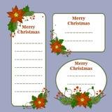 La Navidad linda fijó con las tarjetas, notas, etiquetas engomadas, etiquetas, etiquetas con los ejemplos de la Navidad del invie ilustración del vector