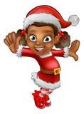 La Navidad linda Santa Helper Elf de la historieta Imagenes de archivo
