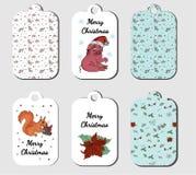 La Navidad marca la colección con etiqueta en vector ilustración del vector