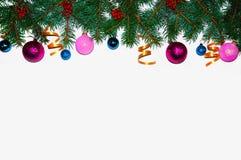 La Navidad Marco de la Navidad hecho de ramas del abeto Juguetes del ` s del Año Nuevo Papeles pintados de la Navidad Visión plan Fotos de archivo libres de regalías