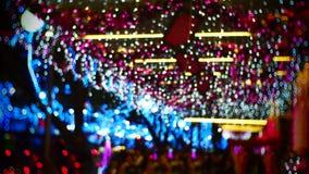 La Navidad marrón azul que enciende Bokeh fotografía de archivo libre de regalías