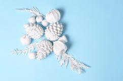 La Navidad minimalista conceptual del inconformista y contexto del Año Nuevo Conos del pino, ramas, flores del physalis Objetos b Fotos de archivo