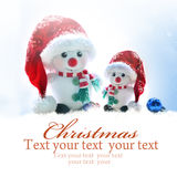 La Navidad Muñeco de nieve dos en el sombrero de santa Imagen de archivo