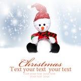 La Navidad Muñeco de nieve en el sombrero de santa Imágenes de archivo libres de regalías