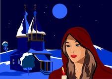La Navidad, la muchacha en el invierno que lleva a cabo una vela, ella se coloca al lado de la iglesia ilustración del vector