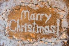 La Navidad nuevo Year& x27; inscripción de s en el fondo Imágenes de archivo libres de regalías