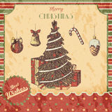 La Navidad o la mano del Año Nuevo dibujada coloreó el ejemplo del vector - tarjeta, cartel Regalos, árbol con los ornamentos, vi stock de ilustración