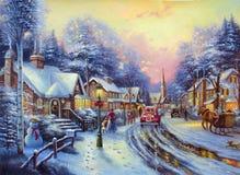 La Navidad original de la pintura al óleo Fotografía de archivo libre de regalías