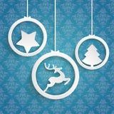 La Navidad 3 ornamentos azules del fondo de los anillos blancos libre illustration