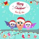 La Navidad Owl Chat Communication Bubble Sitting encendido Imagenes de archivo