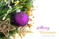 La Navidad púrpura y de oro adorna la frontera Fotos de archivo libres de regalías