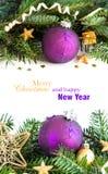 La Navidad púrpura y de oro adorna la frontera Foto de archivo