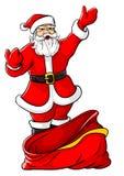 La Navidad Papá Noel con el saco vacío grande Fotos de archivo libres de regalías