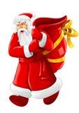 La Navidad Papá Noel que recorre con el saco vacío grande Imagenes de archivo