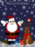 La Navidad Papá Noel y reno con la nariz roja Imágenes de archivo libres de regalías