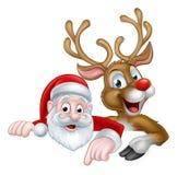 La Navidad Papá Noel de la historieta y reno Fotos de archivo