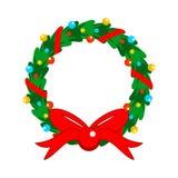 La Navidad plana del diseño adornó completamente la guirnalda Fotos de archivo libres de regalías