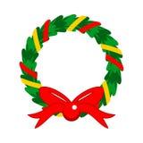 La Navidad plana del diseño adornó la guirnalda Fotografía de archivo libre de regalías