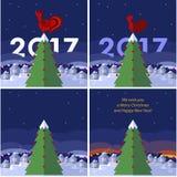 La Navidad plana y Año Nuevo/año del ejemplo del gallo Foto de archivo libre de regalías