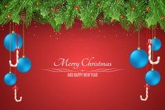 La Navidad Plantilla para su proyecto Bolas azules Bayas Nevado con un árbol de abeto en un fondo rojo stock de ilustración