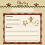 La Navidad que cuece la tarjeta festiva de la receta Imagen de archivo