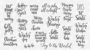 La Navidad que pone letras al sistema grande enorme de la tipografía stock de ilustración