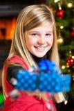 La Navidad - regalo y sonrisa de la explotación agrícola de la muchacha Imagenes de archivo