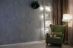 La Navidad retra de las guirnaldas de las decoraciones del Año Nuevo Fotografía de archivo