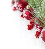 La Navidad roja adorna la frontera Imágenes de archivo libres de regalías