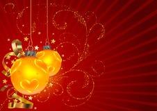 La Navidad roja con el modelo floral Imágenes de archivo libres de regalías
