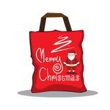 La Navidad roja del bolso de la plantilla del diseño Imágenes de archivo libres de regalías