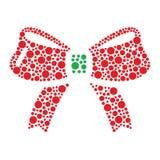 La Navidad roja e icono verde del arqueamiento hecho de círculos Imágenes de archivo libres de regalías