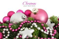 La Navidad rosada y de plata adorna la frontera Imágenes de archivo libres de regalías