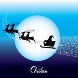 La Navidad Santa Claus Driving en un vector del trineo libre illustration